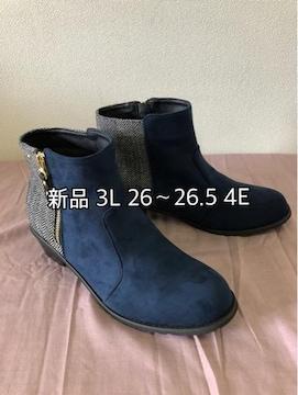 新品☆3L26〜26.5�p4E紺×ツイードショートブーツ☆jj104