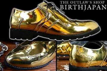 送料込 ゴールド ドレス シューズ 靴 メンズ 成人式 オラオラ ホスト 113 金 25.5