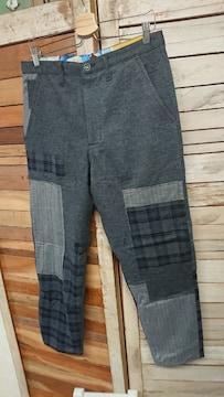 セヴシグ SEVESKIG ウールパンツ リメイク パッチワーク L