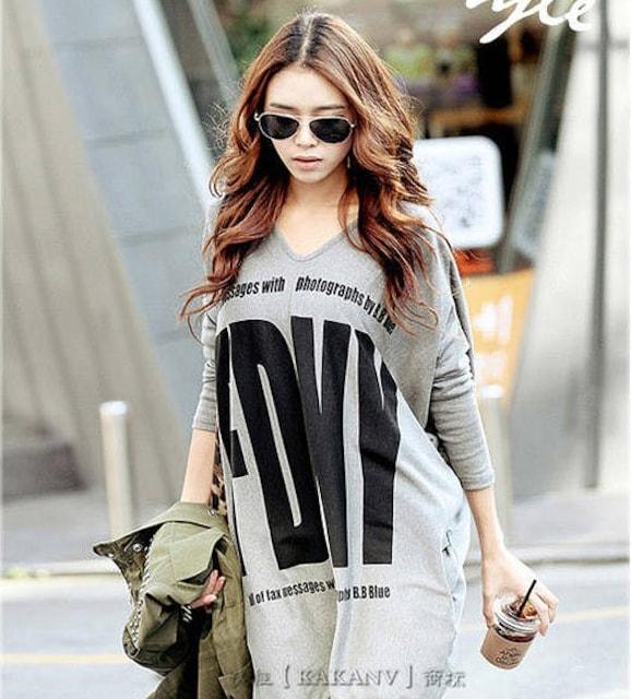 プリントカットソー トップス 大きいサイズ 長袖 ロンT < 女性ファッションの