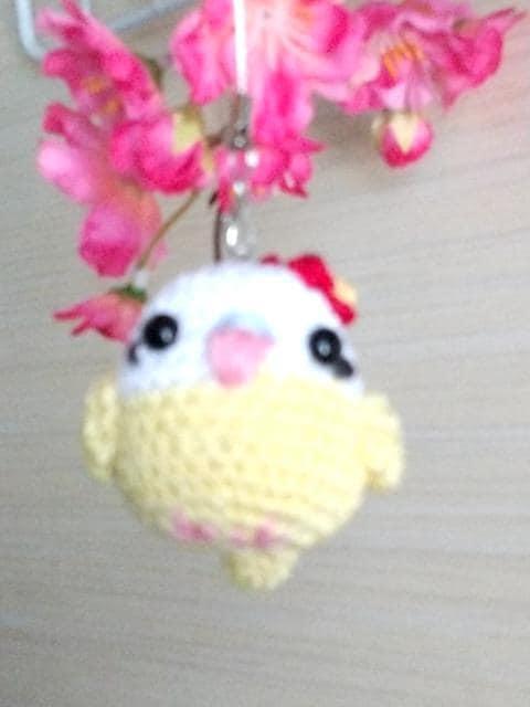 ハイビスカス☆いんこちゃん編みぐるみストラップ  < ペット/手芸/園芸の