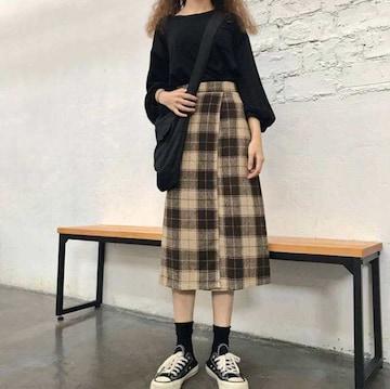 新品タグ付き チェックラップスカート 膝丈 韓国ファッション