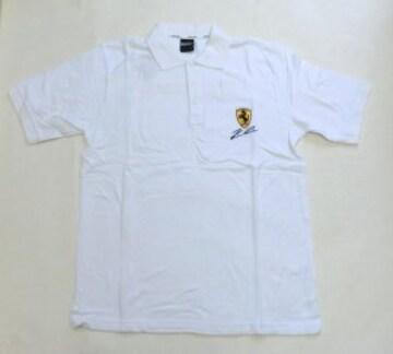 セール! フェラーリ ロゴ  白ポロシャツ L f165