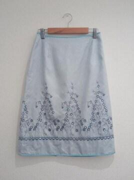 メルローズ◆刺繍 スパンコール 水色 スカート サイズ3