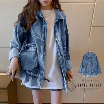 デニムジャケット フリルデザイン レディース 韓国風