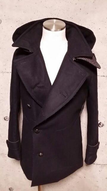 新品VADELバデル カシミヤ混紡メルトンウールフーデットPコート 46  < 男性ファッションの
