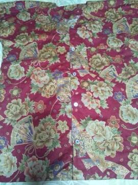☆新柄赤×牡丹桜短冊扇子和柄ダボシャツL