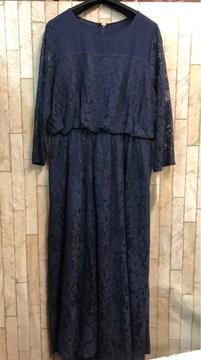 新品☆3L♪紺系のレース使いのロングワンピースドレス☆n956