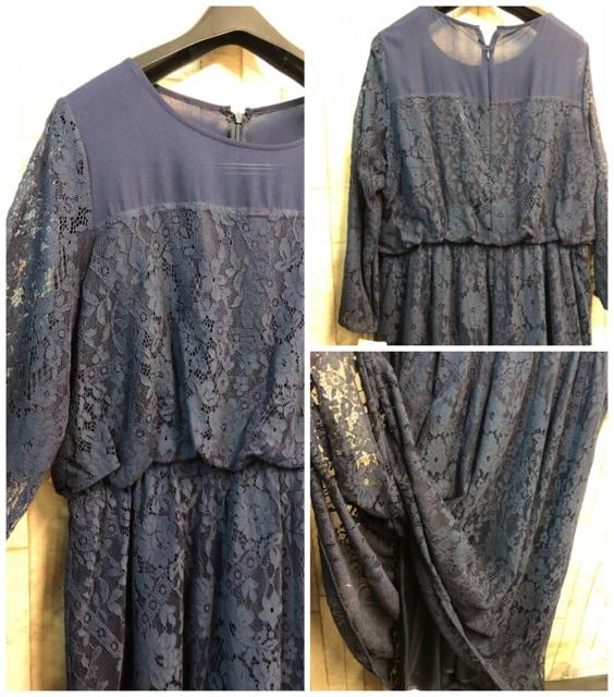 新品☆3L♪紺系のレース使いのロングワンピースドレス☆n956 < 女性ファッションの