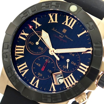 サルバトーレマーラ腕時計 メンズ SM18118-PGBKネイビーフ