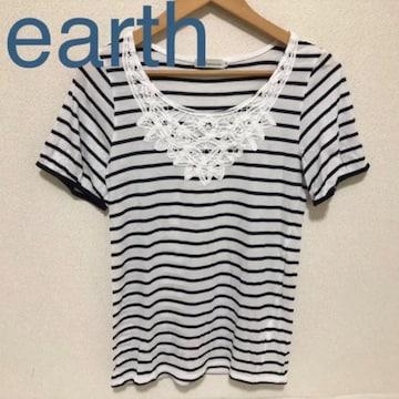 earth ボーダー×レースTシャツ カットソー