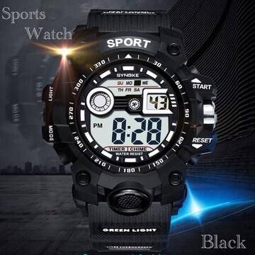 スポーツ腕時計 LED デジタル 腕時計 ミリタリー スポーツ?黒