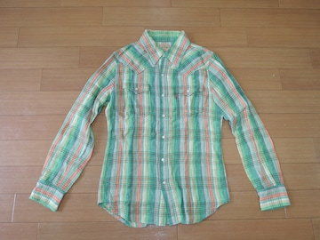 マーブルズMARBLESガーゼチェックシャツS緑系長袖TMT