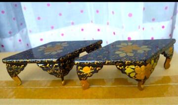 古美術 古特選雛人形 美しい木製菱形台 ー対 70年前 美品