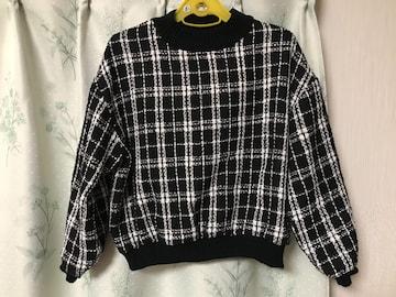 新品未使用チェック柄ニットトップスセーター白黒ブラック