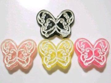 デコパーツヒラヒラ*バタフライ(蝶々)4色4個セット