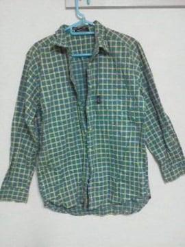 Fー32★美品★長袖ギンガムチェックシャツ グリーン M