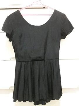 EGOIST黒サテン半袖ペプラムトップスパーティー♪エゴ新品未使用
