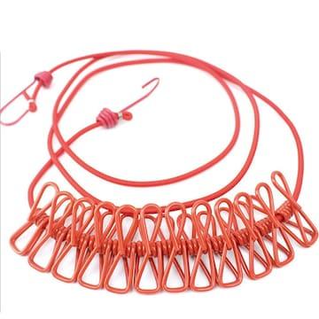 物干しロープ 折りたたみ洗濯ロープ 12個クリップ付き R