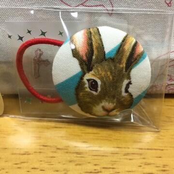 ミミカ、ウサギ柄、くるみボタンヘアゴム、ハンドメイド9