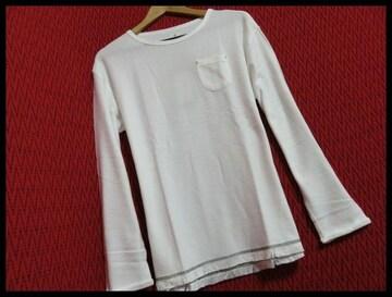 SALE裾フリンジツイストスラブニットソー Tシャツ O/WH/M