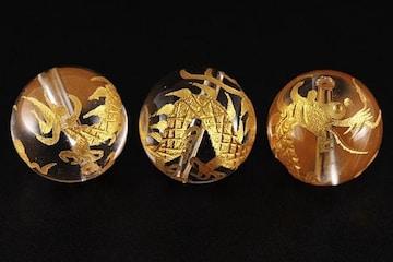 ☆黄金の五爪龍☆水晶金彫り14mmビーズ 1個