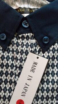 3Lサイズ日本製ブランド品agate IabeIアーガイル柄クレリックボタンダウン長袖シャツ