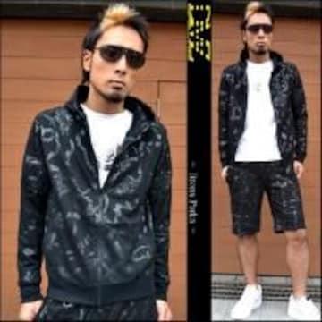 【DMZ】《New》悪羅悪羅★ブロンクス(総柄)パーカージャケット<ブラックL>
