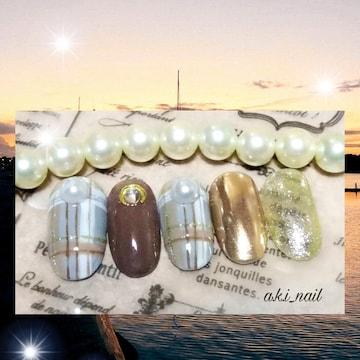 ジェルネイルチップ☆付け爪〜グレー×ブラウン☆チェック☆ミラ