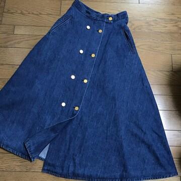 ヴェルメイユパーイエナ 金ボタン ロングデニムフレアスカート