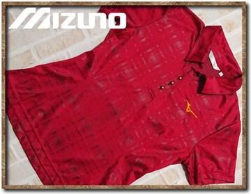 ミズノゴルフ 刺繍入り半袖ポロシャツ 赤