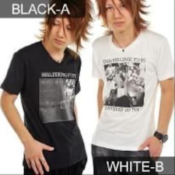 カジュアルBARフォトプリント♪Tシャツブラック