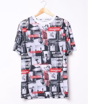 ガールズカラー総柄プリント半袖BIGTシャツMサイズ新品