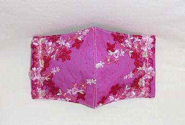 即決◆大◆赤ピンク白花チュールレース×ピンク下地◆ファッションマスク