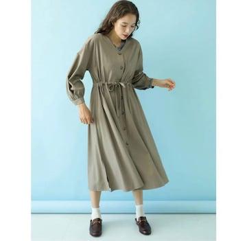 新品☆アースミュージック&エコロジー Vネックロングシャツワンピース☆