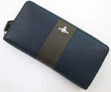 新品★箱付 ヴィヴィアンウエストウッド ファスナー 長財布 紺