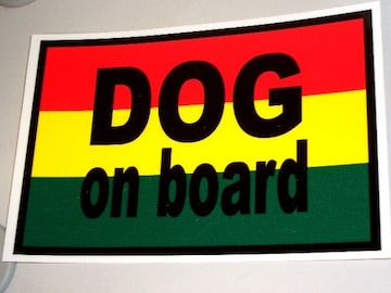 DOG on boardラスタステッカー□レゲエ