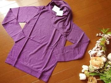 新品タグ付きRba+1紫ストール付きアンゴラ混長袖ニットM
