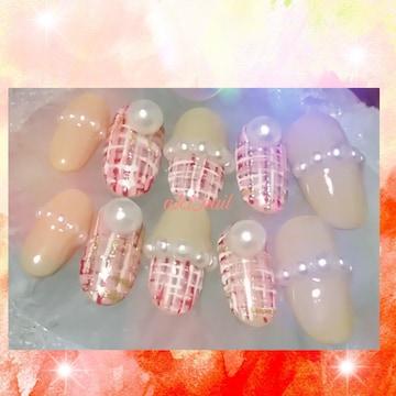 ジェルネイルチップ☆付け爪〜ベージュ、ピンク/ツイード