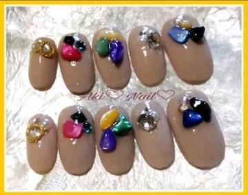 ジェルネイルチップ☆付け爪〜ベージュワンカラー×さざれ石