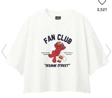 GU×セサミストリート・五分袖クロップド丈Tシャツ。3L