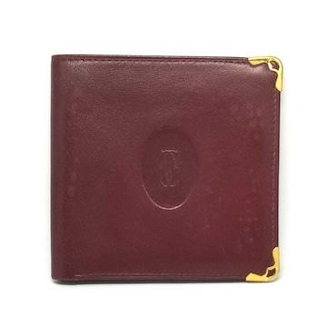 正規カルティエマスト財布二つ折りボルドー2C札入れレデ