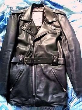 美品デマゴーグ レザー ライダース ロング ジャケット革M肉厚黒