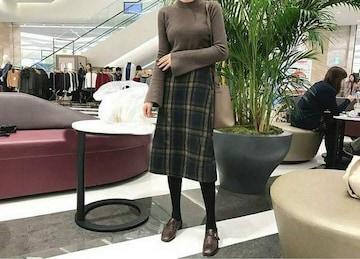 Mサイズ ミモレ丈 チェックスカート
