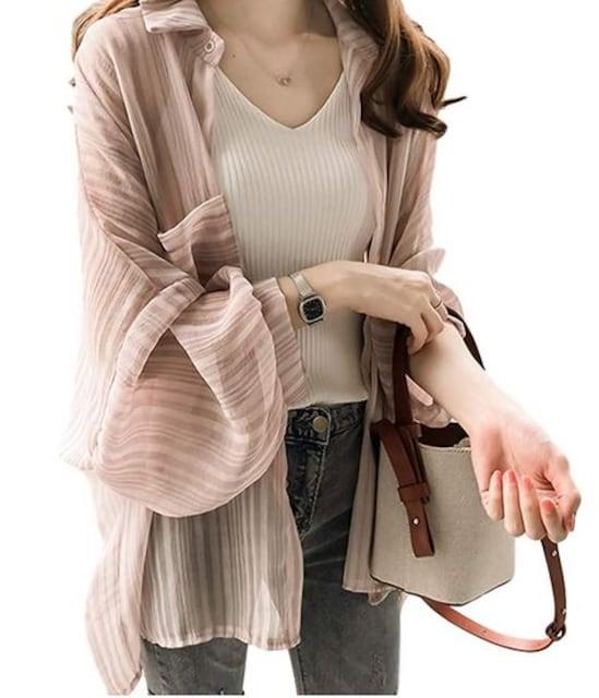ゆったり ランタンスリーブ カーディガン(XL寸.ピンク)  < 女性ファッションの