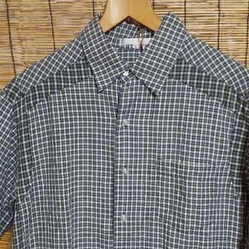 古着 チェック切り返し半袖シャツ グリーン L