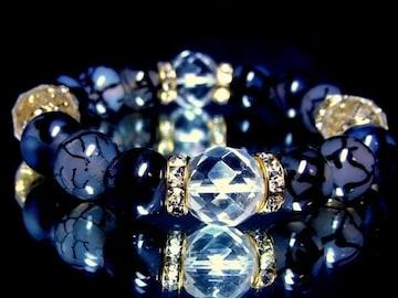 数量限定10ミリ黒龍紋瑪瑙ドラゴンアゲート・カット水晶12ミリ数珠