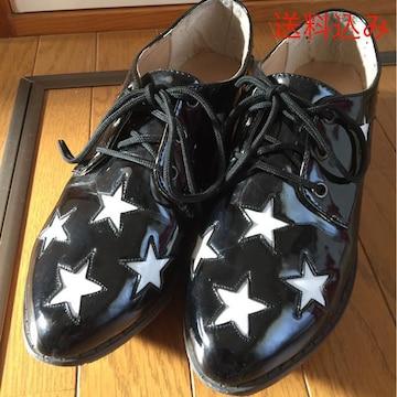 送料込み 6%DOKIDOKI 星柄 黒靴