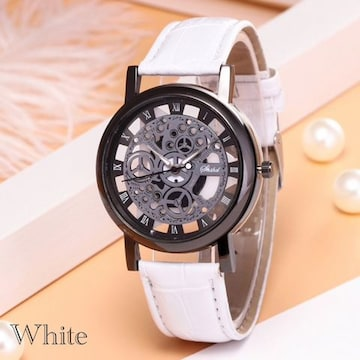 腕時計 ギリシャ文字 アナログ メンズ クォーツ 時計 ホワイト