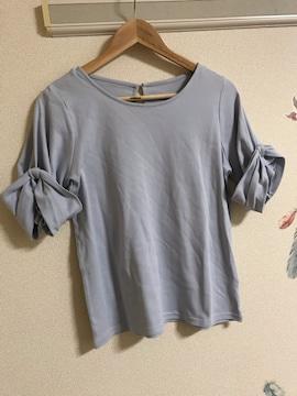 ☆新品☆薄手袖リボン飾りTシャツ綿100%トップス M